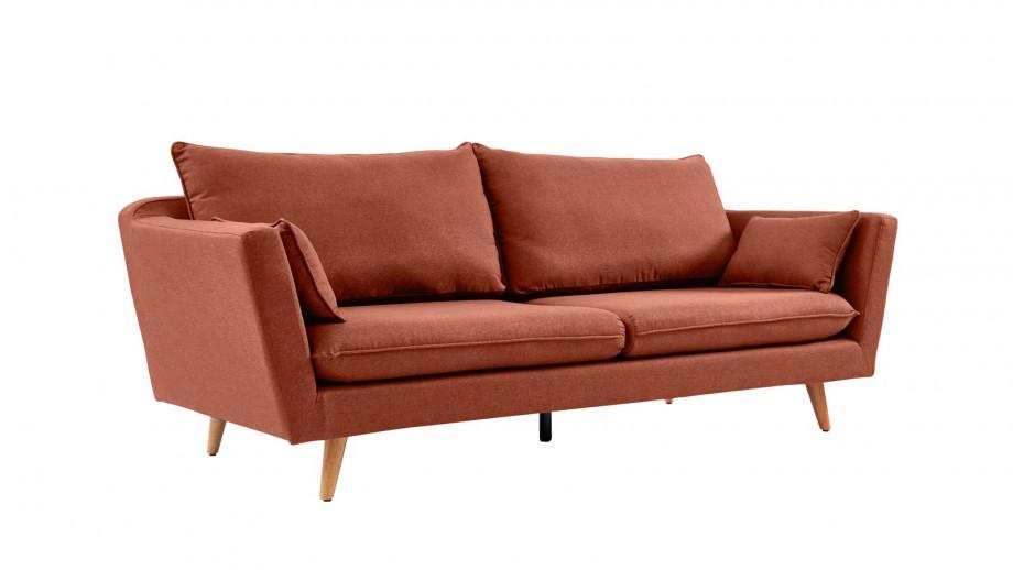Canapé droit scandinave 3 places en tissu rose blush - Collection Louise