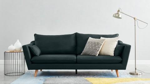Canapé droit scandinave 3 places en tissu bleu nuit - Collection Louise