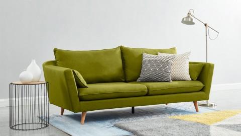 Canapé droit scandinave 3 places en tissu vert jungle - Collection Louise