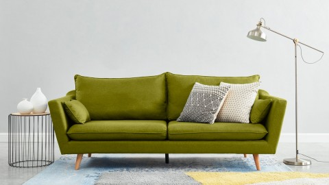 Canapé droit scandinave 3 places en tissu vert jungle - Collection Louise