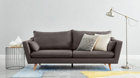 Canapé droit scandinave 3 places en tissu gris souris - Collection Louise