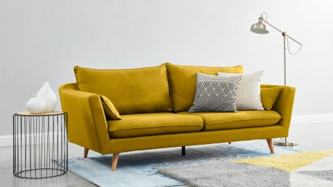 Canapé droit scandinave 3 places en tissu jaune moutarde - Collection Louise