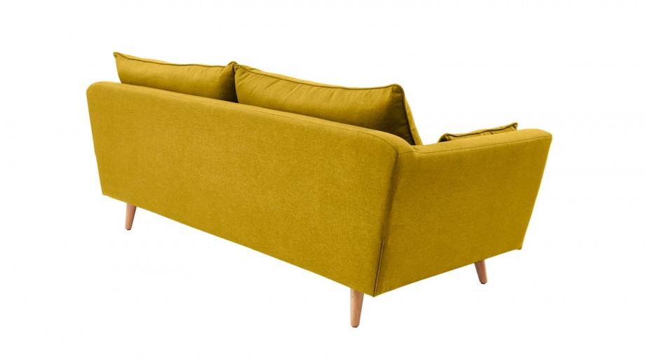 Canapé droit scandinave 3 places en tissu jaune moutarde - Collection Louise