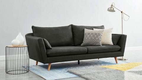 Canapé droit scandinave 3 places en tissu gris perle - Collection Louise