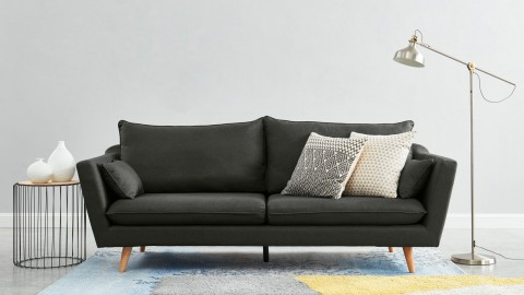 Canapé droit scandinave 3 places en tissu gris perle - Collection Louise