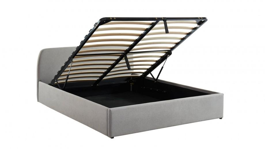 Lit coffre scandinave 140x190 gris clair avec tête de lit + sommier à lattes - Collection Lena