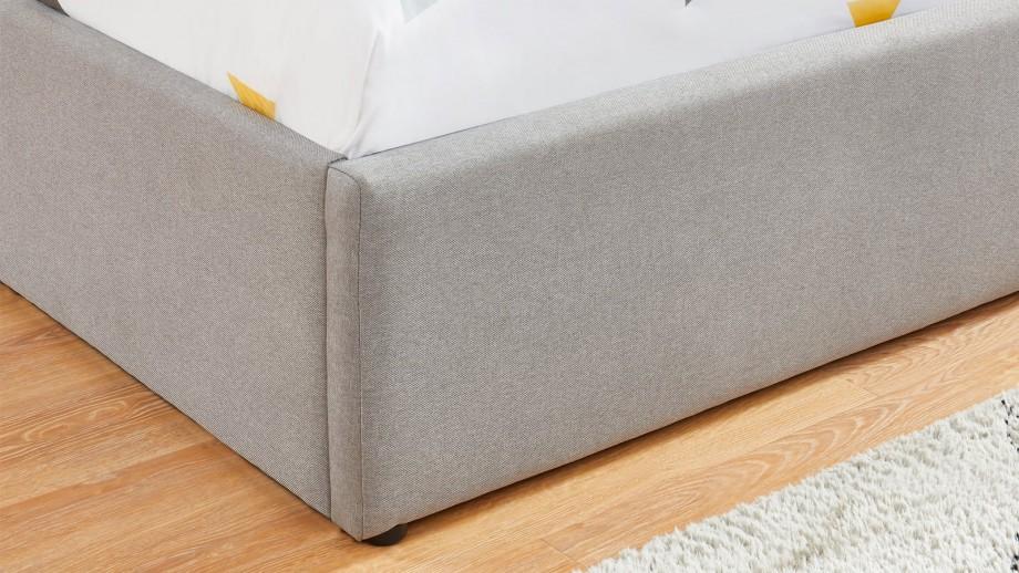 Lit coffre scandinave 160x200 gris clair avec tête de lit + sommier à lattes - Collection Lena