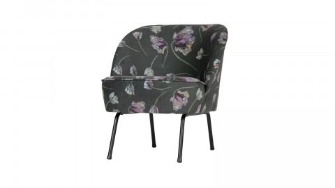 Fauteuil en velours fleuri aloe - Collection Vogue - BePureHome