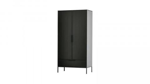 Armoire 2 portes 1 tiroir en pin noir - Collection Adam - Woood