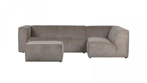 Canapé 5 places d'angle droit en tissu côtelé kaki - Collection Lazy - Vtwonen