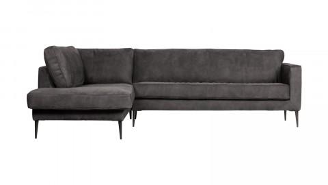 Canapé 5 places d'angle gauche en simili cuir gris foncé - Collection Crew - Vtwonen