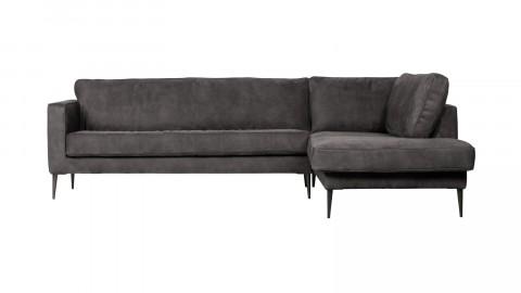 Canapé 5 places d'angle droit en simili cuir gris foncé - Collection Crew - Vtwonen