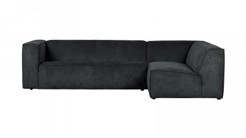 Canapé 5 places d'angle droit en tissu côtelé anthracite - Collection Lazy - Vtwonen