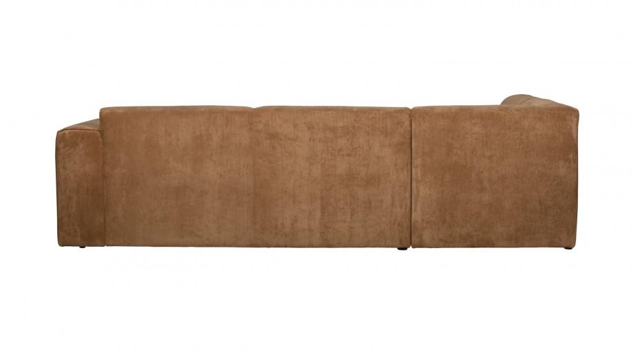 Canapé d'angle gauche 5 places en tissu côtelé miel - Collection Luna - Woood