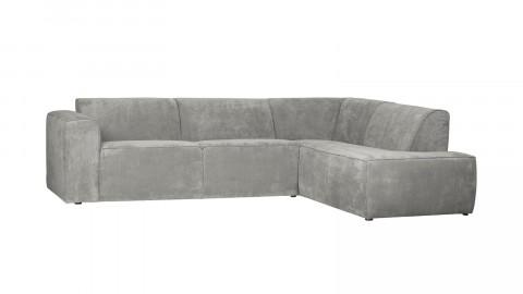 Canapé d'angle droit 5 places en tissu côtelé vert patiné - Collection Luna - Woood