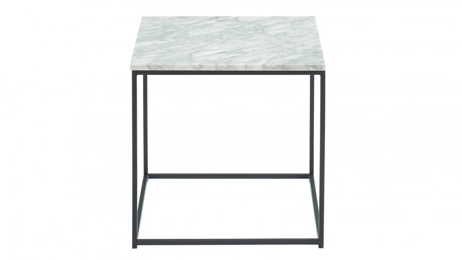Table basse carrée 40 cm en marbre blanc et pieds en métal noir - Collection Telma