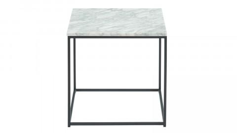 Table basse carrée 40 cm en marbre blanc et pieds en métal noir - Collection Telma.