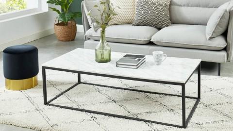 Table basse rectangulaire 120 cm en marbre blanc et pieds en métal noir - Collection Telma