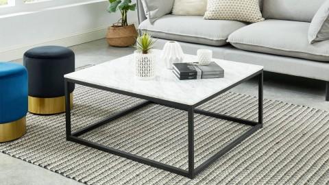 Table basse carrée 80 cm en marbre blanc et pieds en métal noir- Collection Telma