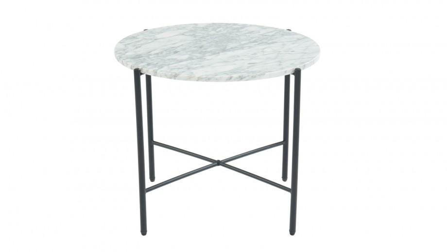 Table d'appoint ronde 55 cm en marbre blanc et pieds en métal noir - Collection Telma