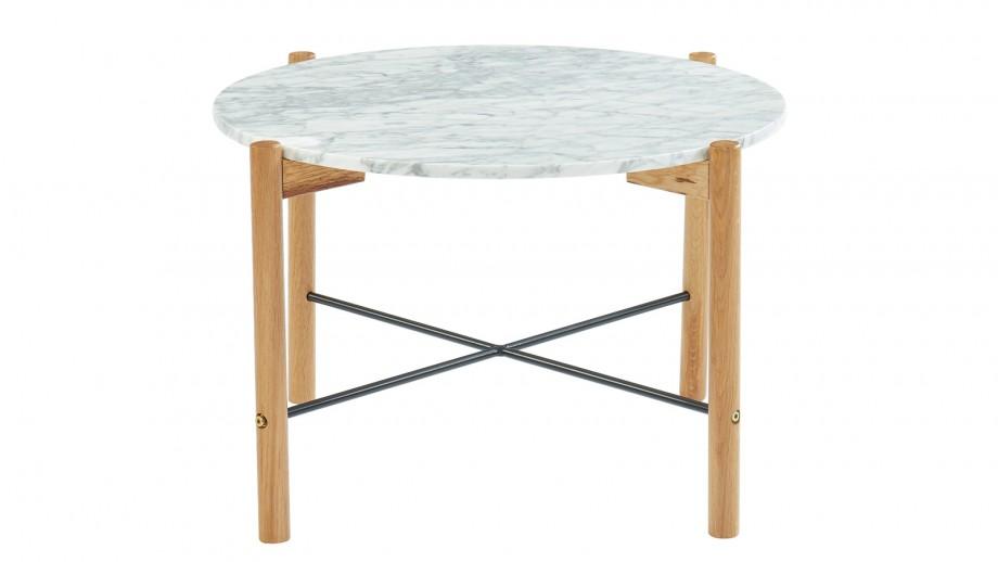 Table basse ronde 60 cm en marbre blanc et pieds en chêne- Collection Anna