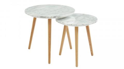 Lot de 2 tables basses rondes - 50 cm et 40 cm en marbre blanc et pieds en chêne - Collection Anna