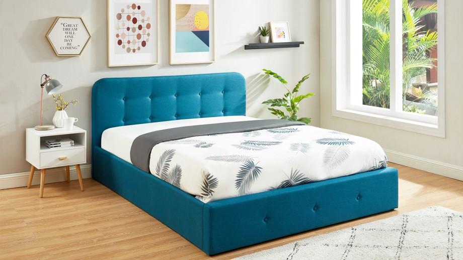 Lit coffre 160x200 cm bleu canard avec tête de lit + sommier à lattes – Collection Kate