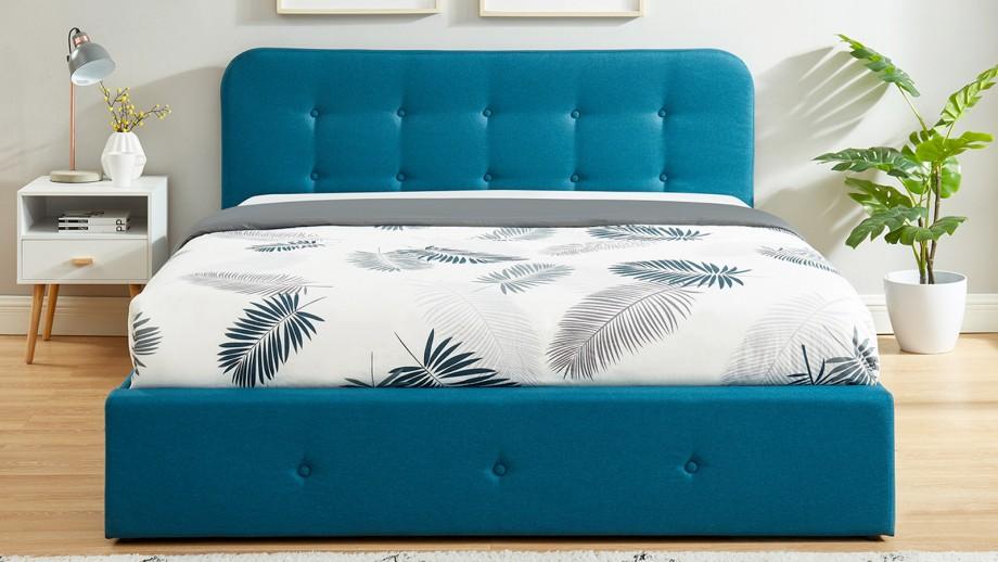 Lit coffre 140x190 cm bleu canard avec tête de lit + sommier à lattes – Collection Kate