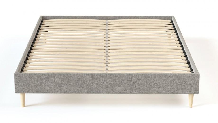 Sommier à lattes 90x200 tissu déco gris clair - Collection Chouette