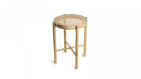 Tabouret en bois naturel assise en rotin - HK Living