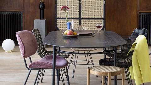 Chaise en rotin noir piètement en métal - HK Living