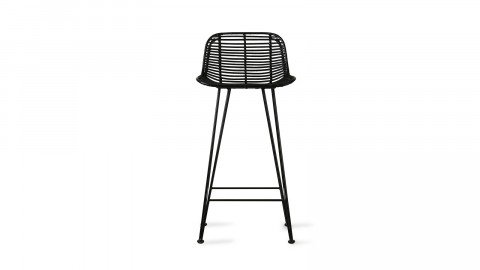 Tabouret de bar en rotin noir piètement métal noir - HK Living