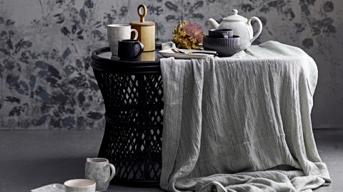 Table basse ovale en rotin noir - Collection Abby - Bloomingville