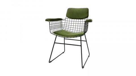 Kit confort pour fauteuil (haut de dossier, assise, accoudoirs) en velours vert - HK Living