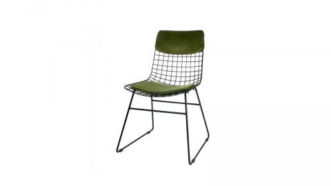 Lot de 2 kits confort pour chaise (haut de chaise + assise) en velours vert - HK Living