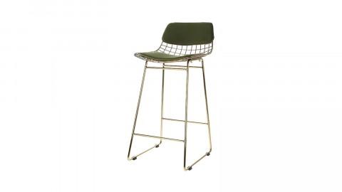 Lot de 2 kits confort pour tabouret de bar (haut de chaise + assise) en velours vert - HK Living