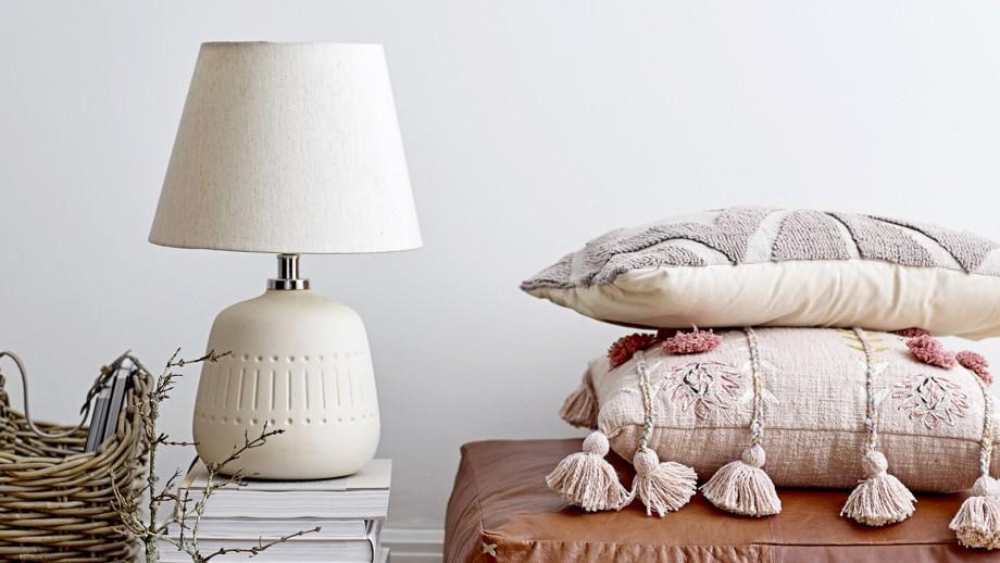 Lampe à poser en grès et coton beige - Bloomingville
