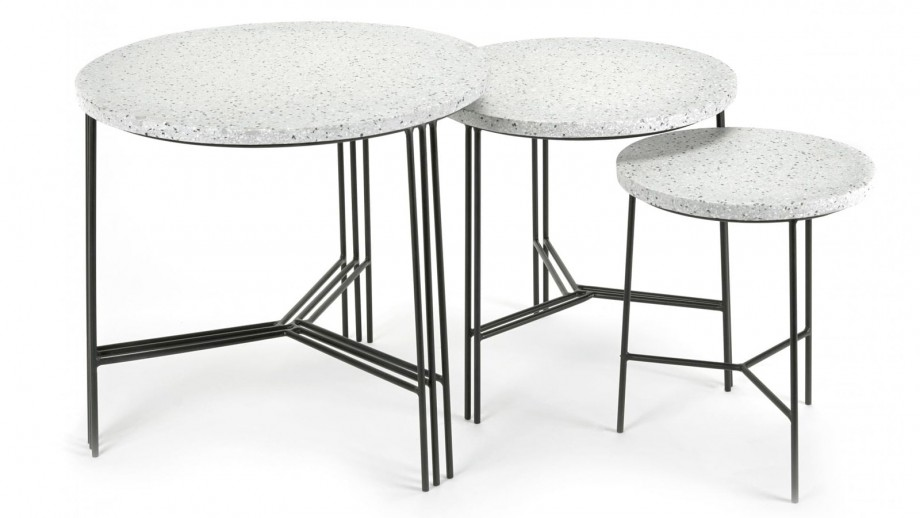 Table d'appoint en grès piètement métal noir ⌀50cm - Collection Terrazzo - Serax