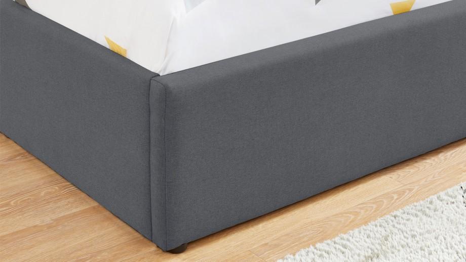 Lit coffre scandinave 140x190 gris foncé avec tête de lit + sommier à lattes - Collection Lena