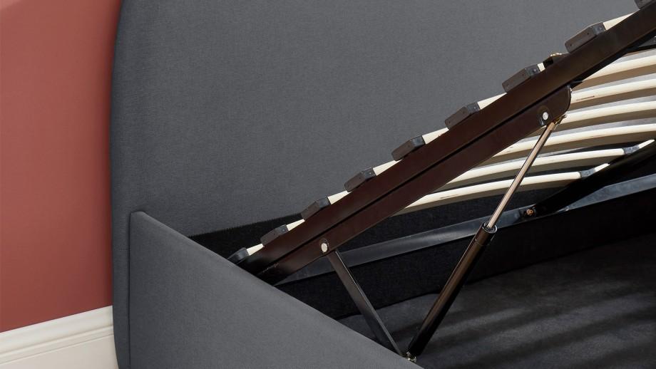 Lit coffre scandinave 160x200 gris foncé avec tête de lit + sommier à lattes - Collection Lena