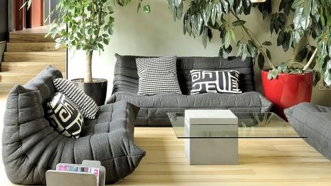 Table basse carrée en béton et verre - Collection Singleton - Lyon Beton