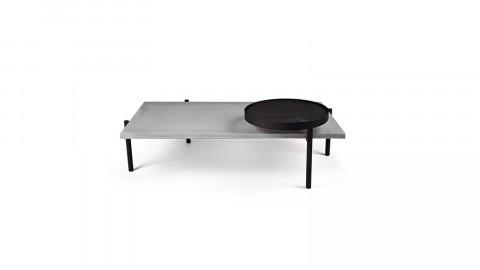 Table basse rectangulaire en béton piètement métal noir et plateau en tôle perforée - Collection Twist - Lyon Beton