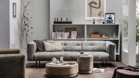 Canapé 4 places en simili cuir gris clair - Collection Skin - Vtwonen
