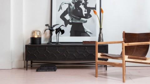 Meuble TV 2 portes en bois et métal noir - Collection Bequest - BePureHome