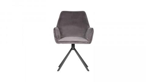 Lot de 2 chaises avec accoudoirs en velours gris - Collection Amber - Woood