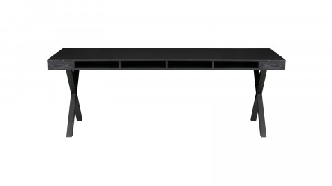 Table à manger en bois noir piètement X en métal noir - Collection Trian - Woood