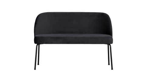 Banc en velours bleu encre piètement en métal noir - Collection Vogue - BePureHome