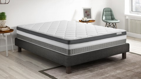 Ensemble mémoire de forme + 2 sommiers 90x200 Confort Royal Hbedding - 7 zones de confort - épaisseur matelas 30cm