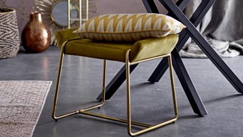 Lot de 2 tabourets en métal doré assise en tissu vert - Collection Megan - Bloomingville