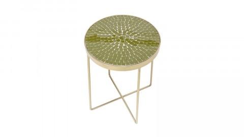 Table d'appoint dorée plateau mosaïque verte - Bloomingville